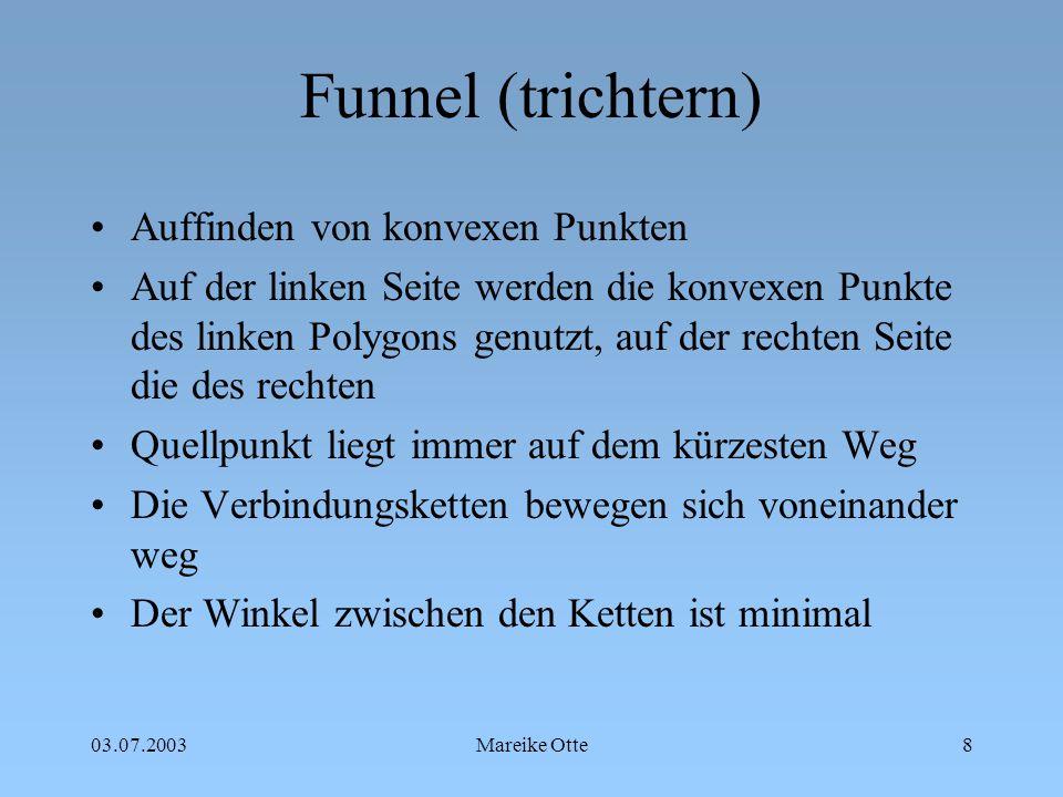 03.07.2003Mareike Otte9 Funnel (trichtern) 1 2 3 4 5 6 7 8 9 10 I II