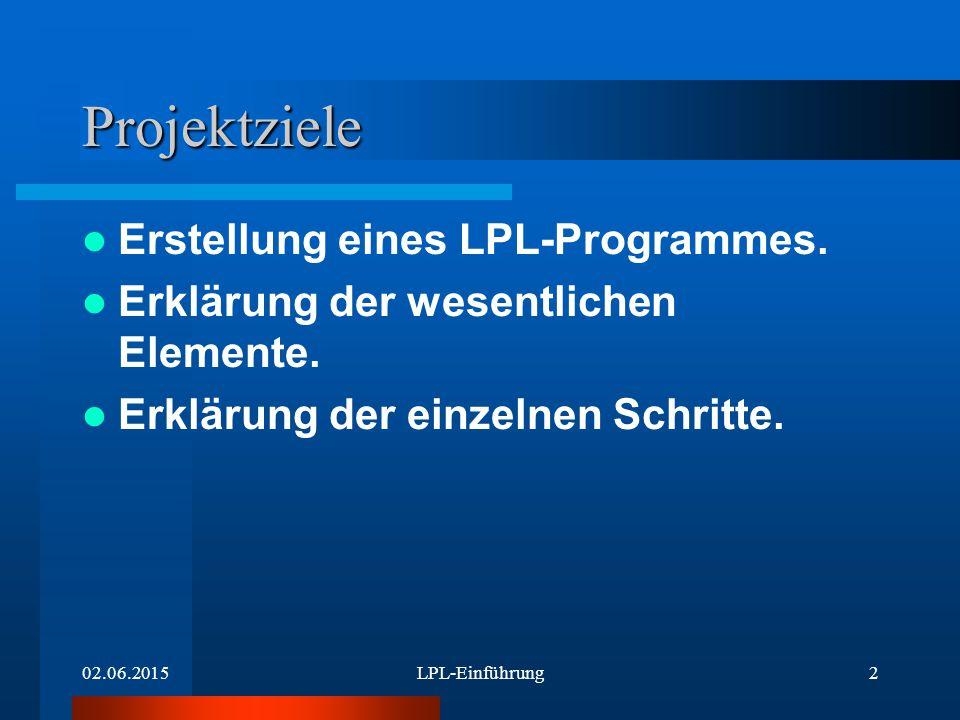 02.06.2015LPL-Einführung3 Grundelemente des Programms MODEL SET PARAMETER VARIABLE CONSTRAINT MAXIMIZE oder MINIMZE END