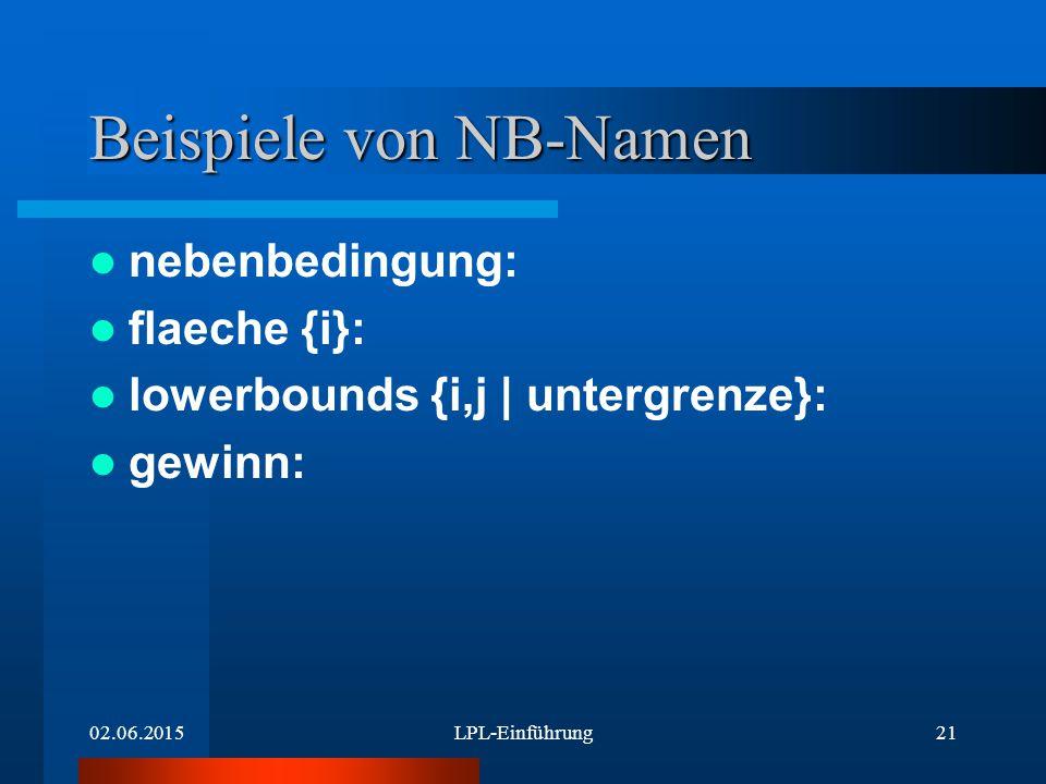 02.06.2015LPL-Einführung21 Beispiele von NB-Namen nebenbedingung: flaeche {i}: lowerbounds {i,j | untergrenze}: gewinn: