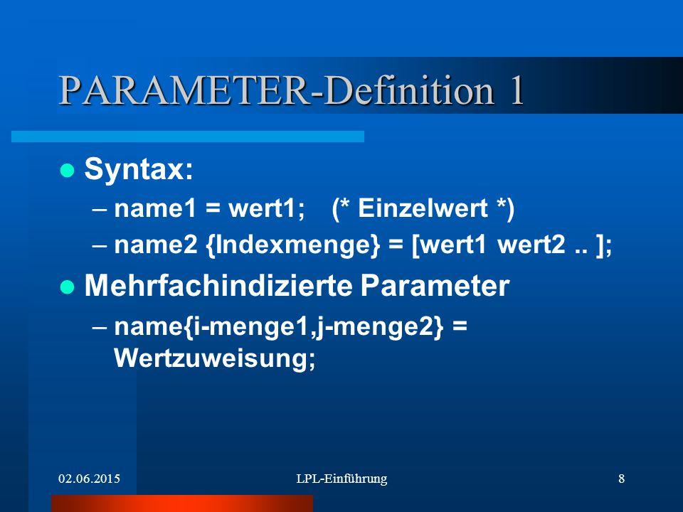 02.06.2015LPL-Einführung19 CONSTRAINT-Definition: name Einzelname: name: einfach indizierter Name: name {i}: mehrfach indiz.