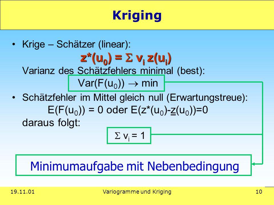 19.11.01Variogramme und Kriging 10 Kriging z*(u 0 ) =  v i z(u i )Krige – Schätzer (linear): z*(u 0 ) =  v i z(u i ) Varianz des Schätzfehlers minimal (best): Var(F(u 0 ))  min Schätzfehler im Mittel gleich null (Erwartungstreue): E(F(u 0 )) = 0 oder E(z*(u 0 )-z(u 0 ))=0 daraus folgt:  v i = 1 Minimumaufgabe mit Nebenbedingung