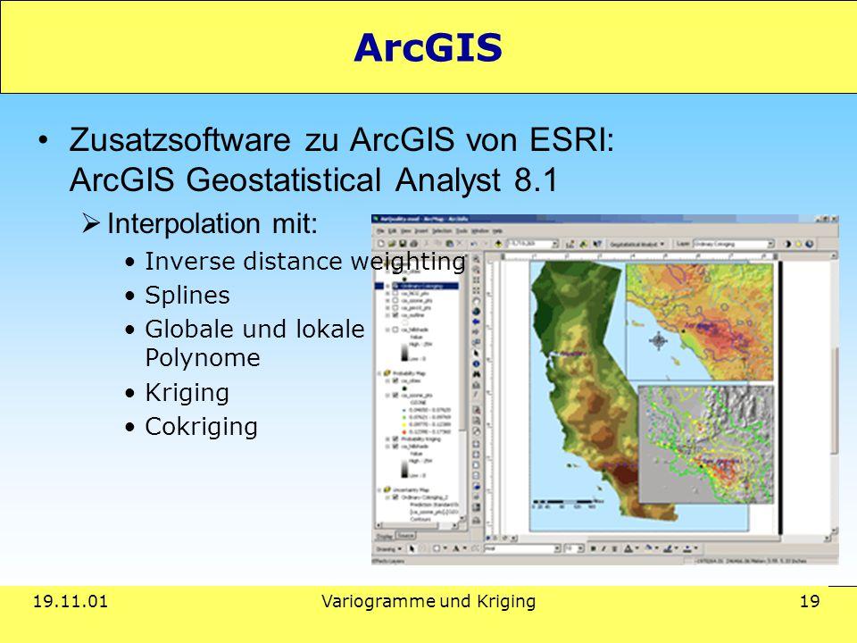 19.11.01Variogramme und Kriging 19 ArcGIS Zusatzsoftware zu ArcGIS von ESRI: ArcGIS Geostatistical Analyst 8.1  Interpolation mit: Inverse distance weighting Splines Globale und lokale Polynome Kriging Cokriging
