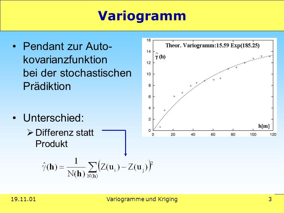 19.11.01Variogramme und Kriging 3 Variogramm Pendant zur Auto- kovarianzfunktion bei der stochastischen Prädiktion Unterschied:  Differenz statt Produkt