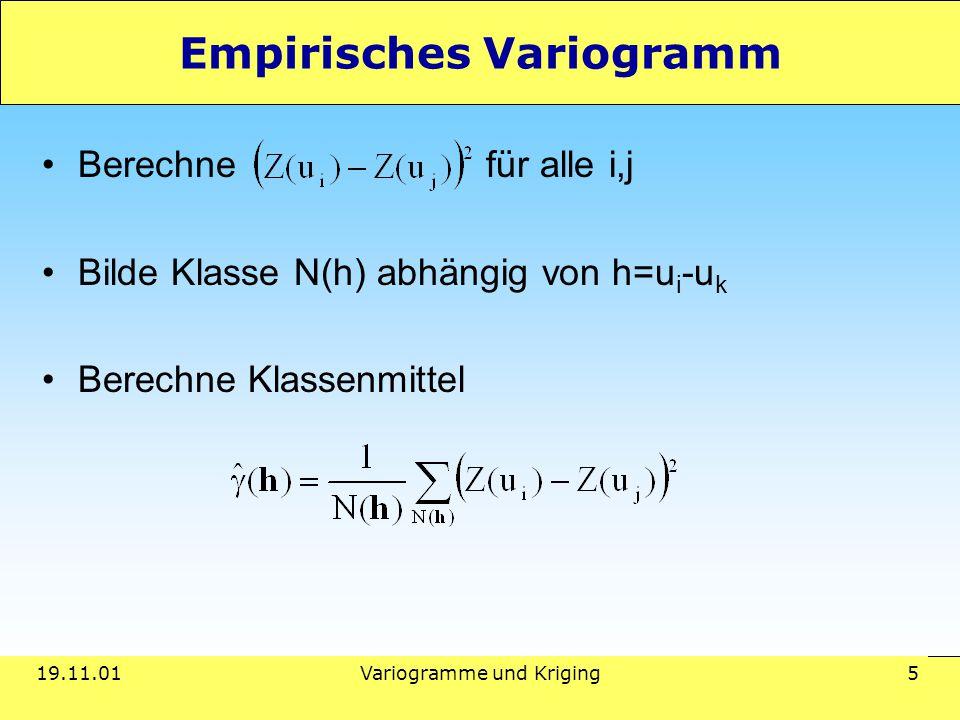 19.11.01Variogramme und Kriging 5 Empirisches Variogramm Berechne für alle i,j Bilde Klasse N(h) abhängig von h=u i -u k Berechne Klassenmittel