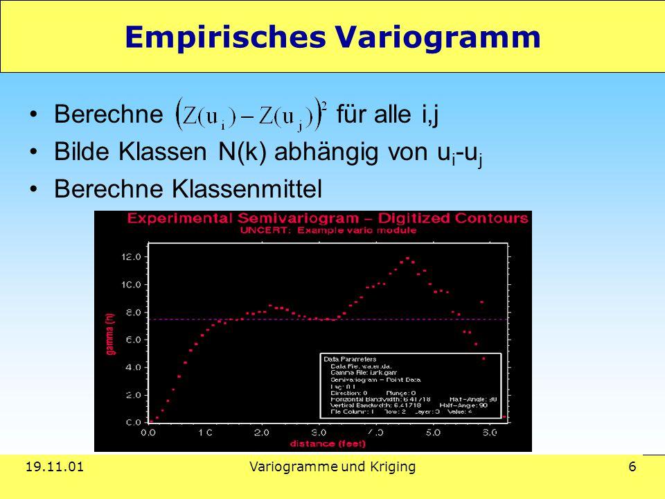 19.11.01Variogramme und Kriging 6 Empirisches Variogramm Berechne für alle i,j Bilde Klassen N(k) abhängig von u i -u j Berechne Klassenmittel