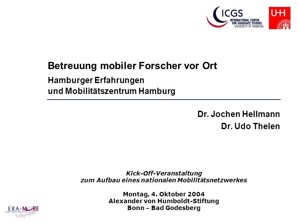 Betreuung mobiler Forscher vor Ort Hamburger Erfahrungen und Mobilitätszentrum Hamburg Dr. Jochen Hellmann Dr. Udo Thelen Kick-Off-Veranstaltung zum A