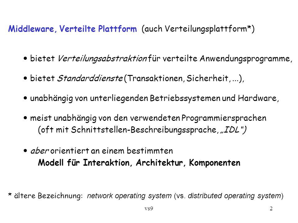 """vs92 Middleware, Verteilte Plattform (auch Verteilungsplattform*) bietet Verteilungsabstraktion für verteilte Anwendungsprogramme, bietet Standarddienste (Transaktionen, Sicherheit,...), unabhängig von unterliegenden Betriebssystemen und Hardware, meist unabhängig von den verwendeten Programmiersprachen (oft mit Schnittstellen-Beschreibungssprache, """"IDL ) aber orientiert an einem bestimmten Modell für Interaktion, Architektur, Komponenten * ältere Bezeichnung: network operating system (vs."""
