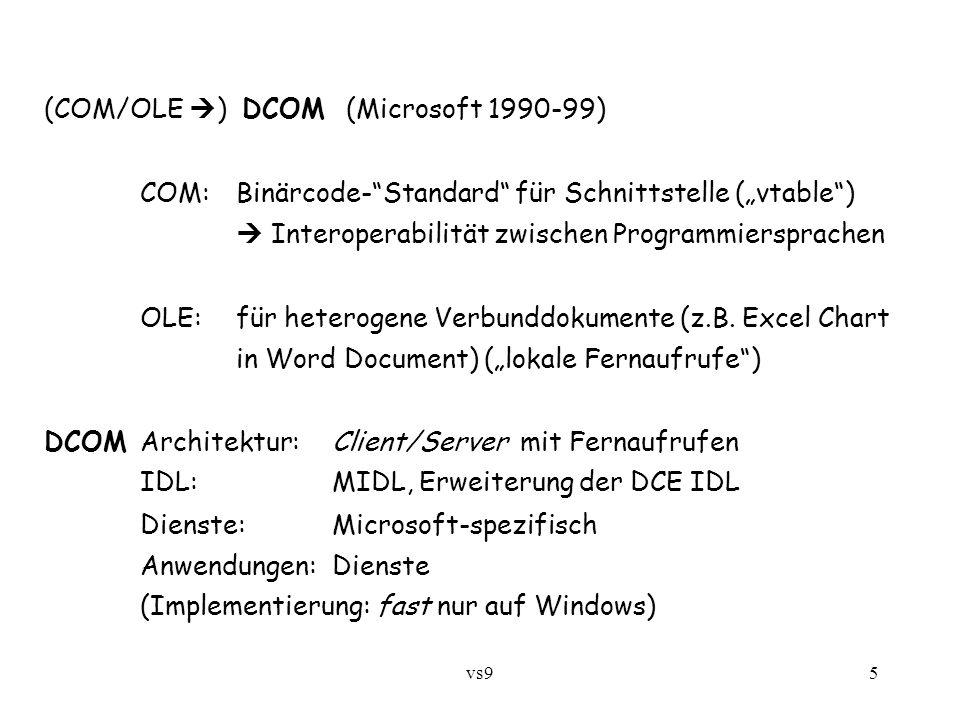 vs96 CORBA – Common Object Request Broker Architecture (Open Management Group [OMG] 1991...) http://www.corba.orgOpen Management Group http://www.corba.org ist Standard, nicht Produkt Architektur: objektorientiert/Fernaufrufe + Komponenten IDL:C++ -ähnlich Dienste:sehr reichhaltig Anwendungen:Dienste, insbesondere Einbinden von Altsoftware EJB – Enterprise Java Beans (Sun 1998 …) Architektur: objektorientiert/Fernaufrufe (RMI) + Komponenten + Nachrichten IDL:(Java) Dienste:reichhaltig Anwendungen:vielseitig, auch Datenbank-Anwendungen