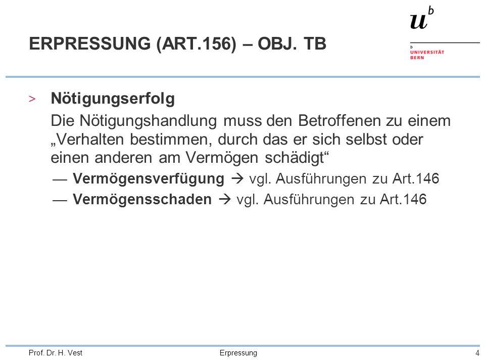 Erpressung 4 Prof. Dr. H. Vest ERPRESSUNG (ART.156) – OBJ.