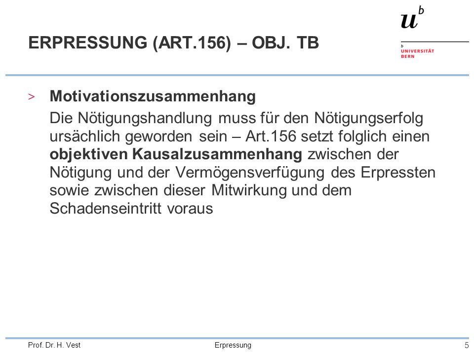 Erpressung 5 Prof. Dr. H. Vest ERPRESSUNG (ART.156) – OBJ.