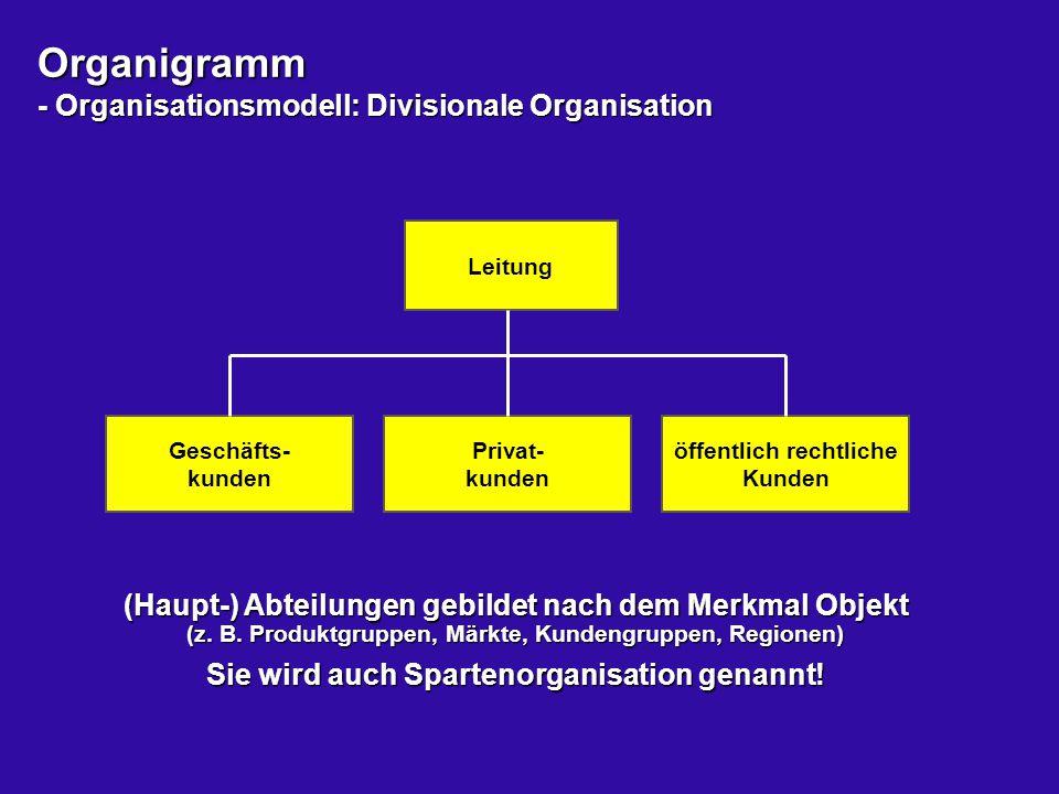 Organigramm - Organisationsmodell: Divisionale Organisation Leitung Geschäfts- kunden Privat- kunden öffentlich rechtliche Kunden (Haupt-) Abteilungen