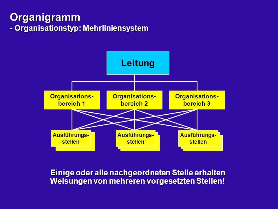 Organigramm - Organisationstyp: Mehrliniensystem Leitung Organisations- bereich 1 Ausführungs- stellen Organisations- bereich 2 Organisations- bereich
