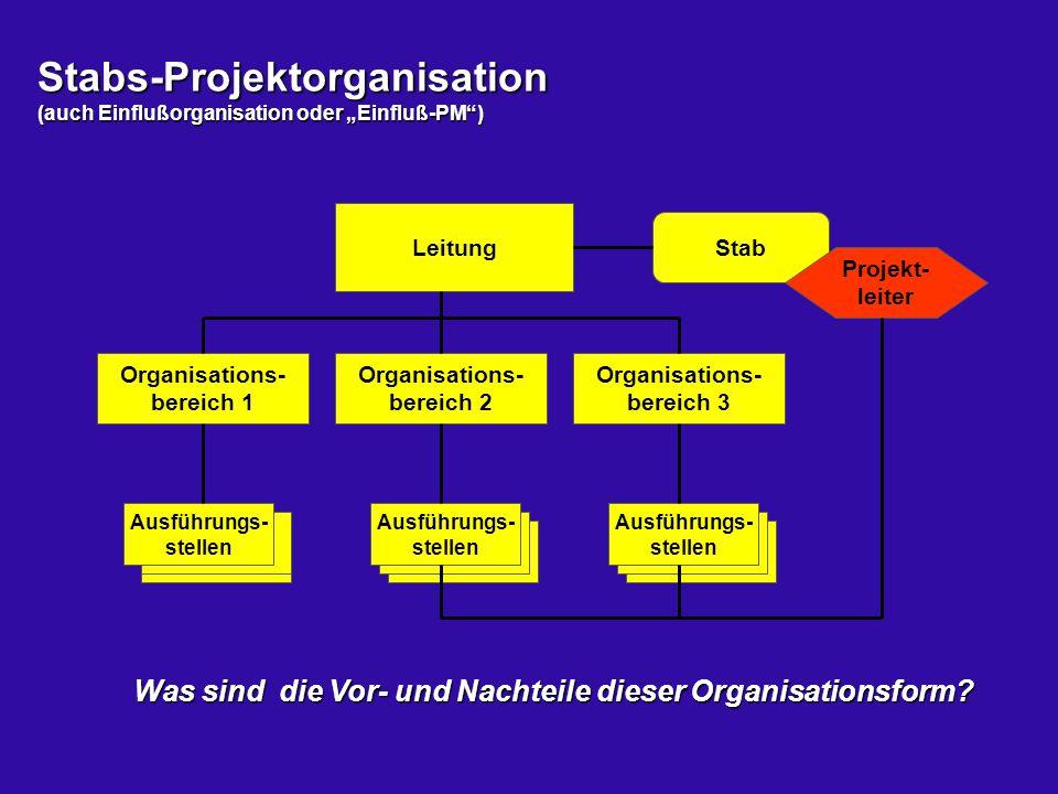 """Stabs-Projektorganisation (auch Einflußorganisation oder """"Einfluß-PM"""") Leitung Organisations- bereich 1 Ausführungs- stellen Organisations- bereich 2"""