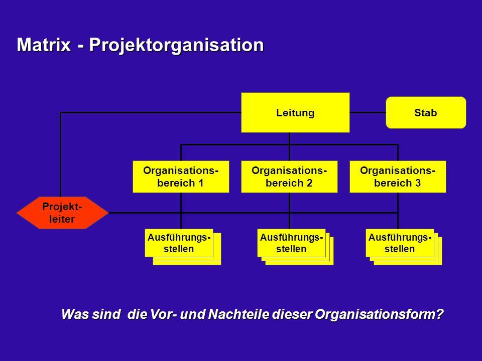 Matrix - Projektorganisation Matrix - Projektorganisation Leitung Organisations- bereich 1 Ausführungs- stellen Organisations- bereich 2 Organisations