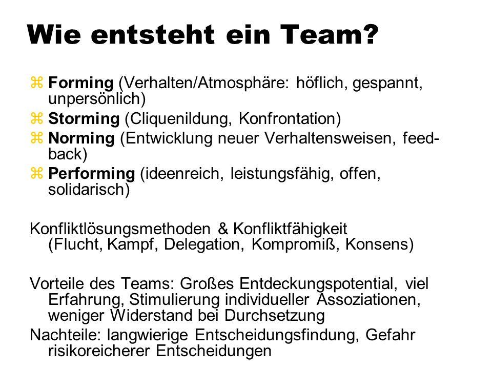 Wie entsteht ein Team? zForming (Verhalten/Atmosphäre: höflich, gespannt, unpersönlich) zStorming (Cliquenildung, Konfrontation) zNorming (Entwicklung
