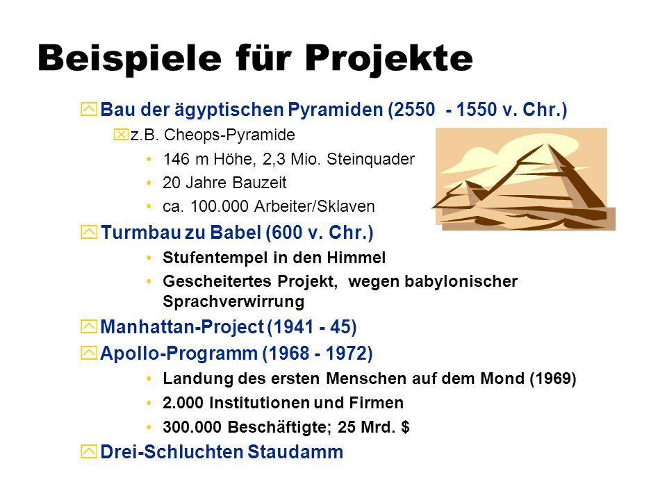 Beispiele für Projekte  Bau der ägyptischen Pyramiden (2550 - 1550 v. Chr.) xz.B. Cheops-Pyramide 146 m Höhe, 2,3 Mio. Steinquader 20 Jahre Bauzeit c