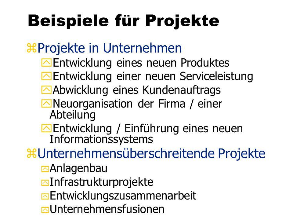 Beispiele für Projekte zProjekte in Unternehmen yEntwicklung eines neuen Produktes yEntwicklung einer neuen Serviceleistung yAbwicklung eines Kundenau
