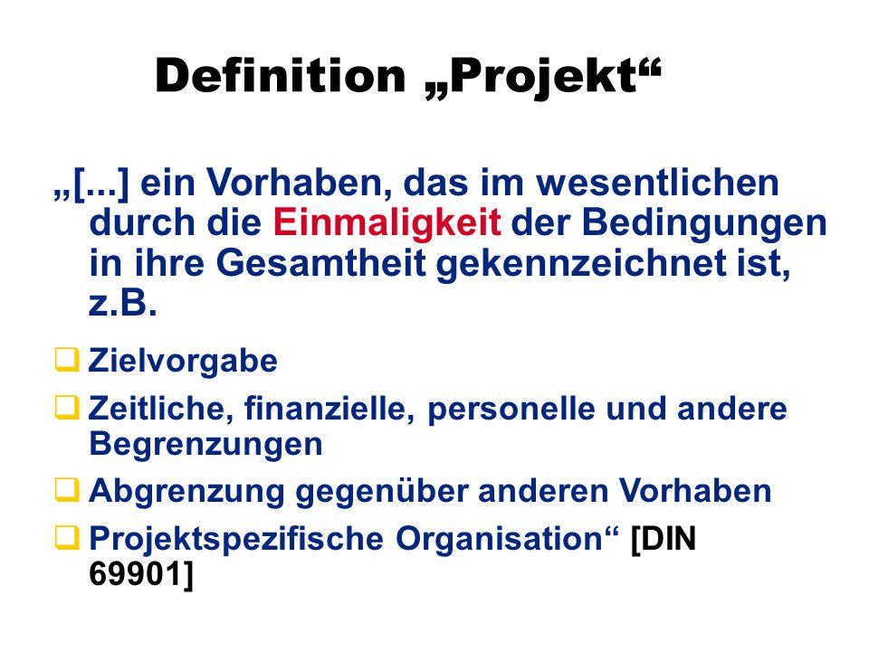 """Definition """"Projekt"""" qZielvorgabe qZeitliche, finanzielle, personelle und andere Begrenzungen qAbgrenzung gegenüber anderen Vorhaben qProjektspezifisc"""