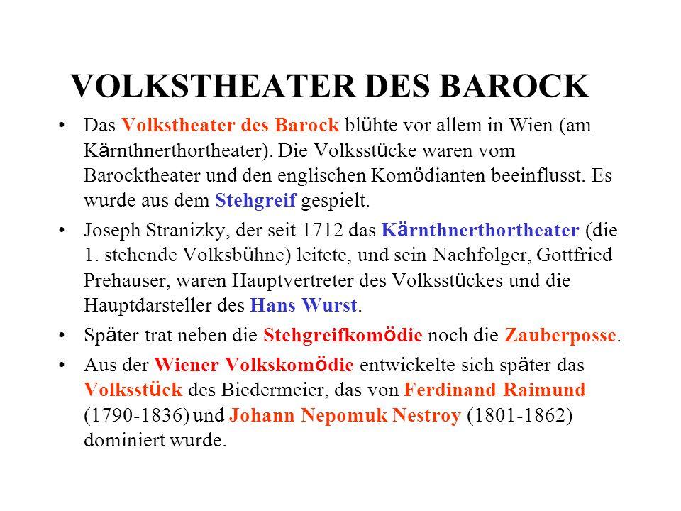 VOLKSTHEATER DES BAROCK Das Volkstheater des Barock bl ü hte vor allem in Wien (am K ä rnthnerthortheater). Die Volksst ü cke waren vom Barocktheater