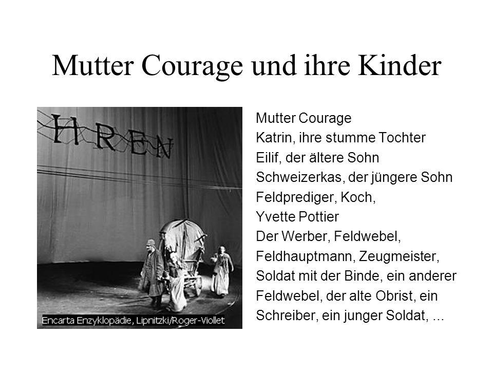 Mutter Courage und ihre Kinder Mutter Courage Katrin, ihre stumme Tochter Eilif, der ältere Sohn Schweizerkas, der jüngere Sohn Feldprediger, Koch, Yv