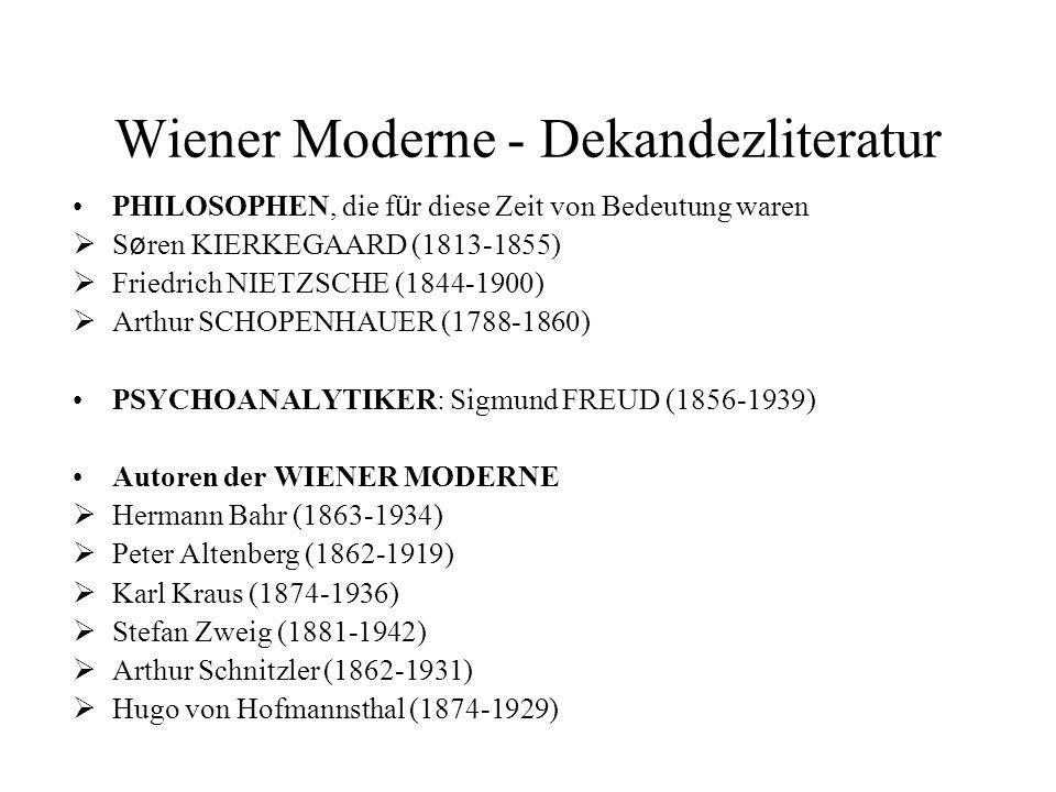 Wiener Moderne - Dekandezliteratur PHILOSOPHEN, die f ü r diese Zeit von Bedeutung waren  S ø ren KIERKEGAARD (1813-1855)  Friedrich NIETZSCHE (1844