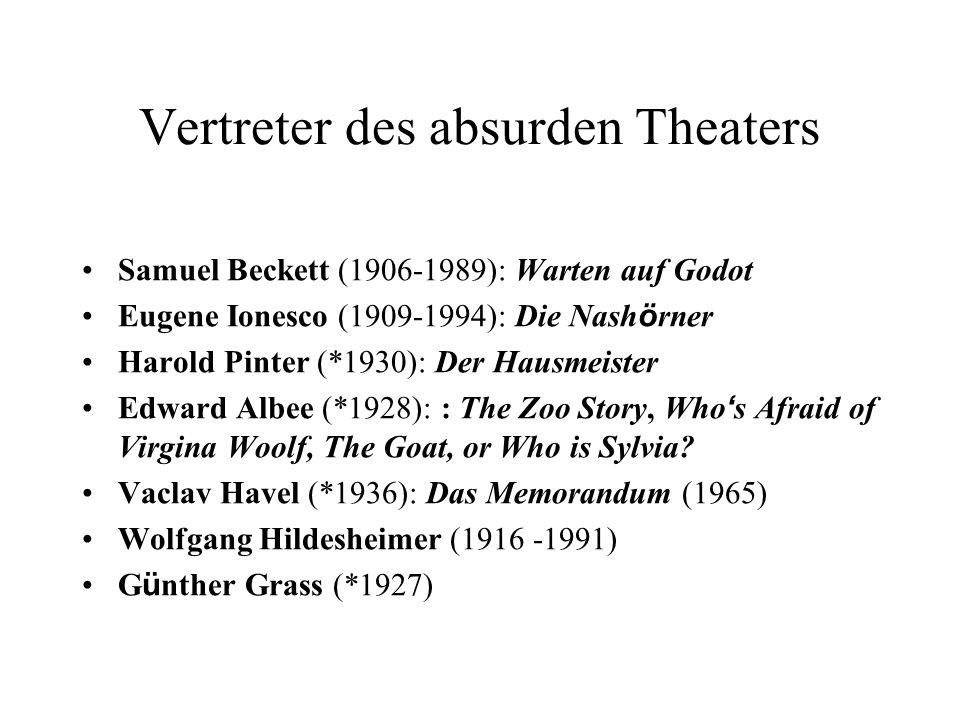 Vertreter des absurden Theaters Samuel Beckett (1906-1989): Warten auf Godot Eugene Ionesco (1909-1994): Die Nash ö rner Harold Pinter (*1930): Der Ha