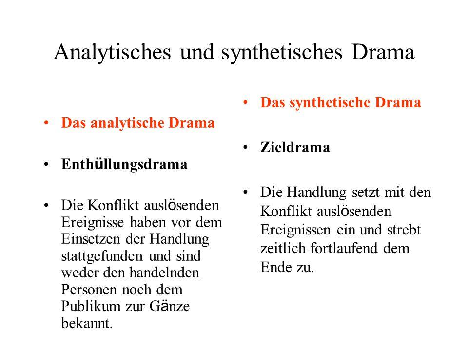 Analytisches und synthetisches Drama Das analytische Drama Enth ü llungsdrama Die Konflikt ausl ö senden Ereignisse haben vor dem Einsetzen der Handlu