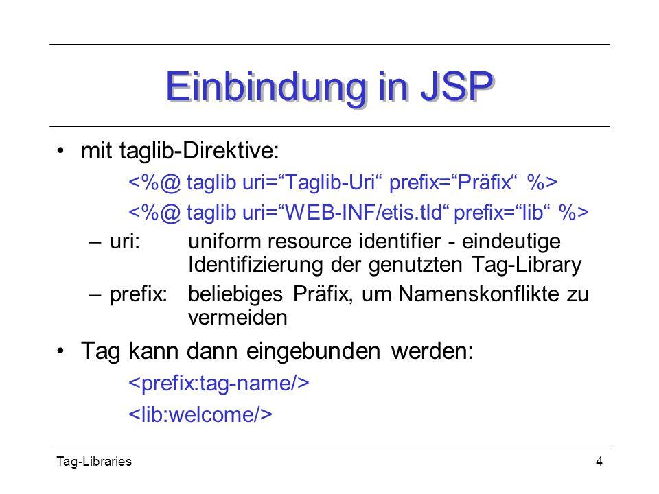 Tag-Libraries4 Einbindung in JSP mit taglib-Direktive: –uri:uniform resource identifier - eindeutige Identifizierung der genutzten Tag-Library –prefix: beliebiges Präfix, um Namenskonflikte zu vermeiden Tag kann dann eingebunden werden: