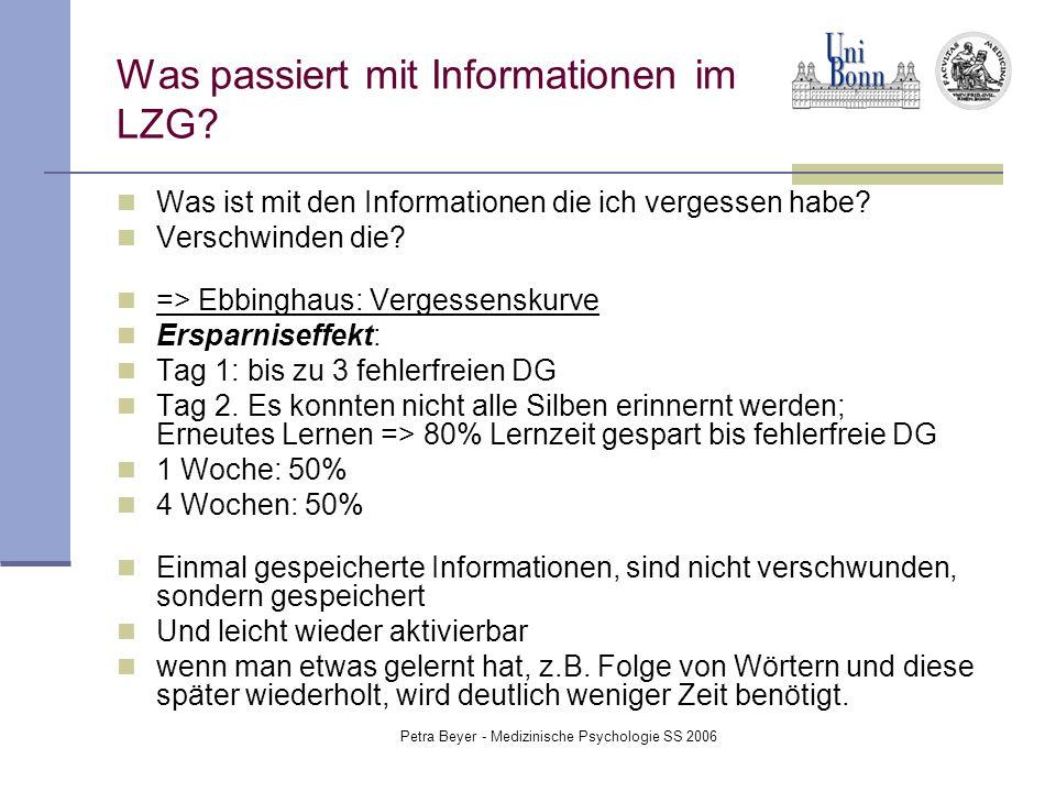 Petra Beyer - Medizinische Psychologie SS 2006 Was passiert mit Informationen im LZG? Was ist mit den Informationen die ich vergessen habe? Verschwind