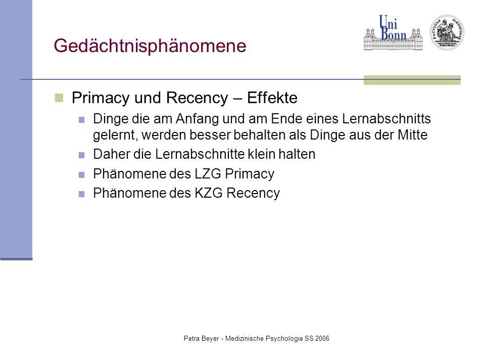 Petra Beyer - Medizinische Psychologie SS 2006 Gedächtnisphänomene Primacy und Recency – Effekte Dinge die am Anfang und am Ende eines Lernabschnitts