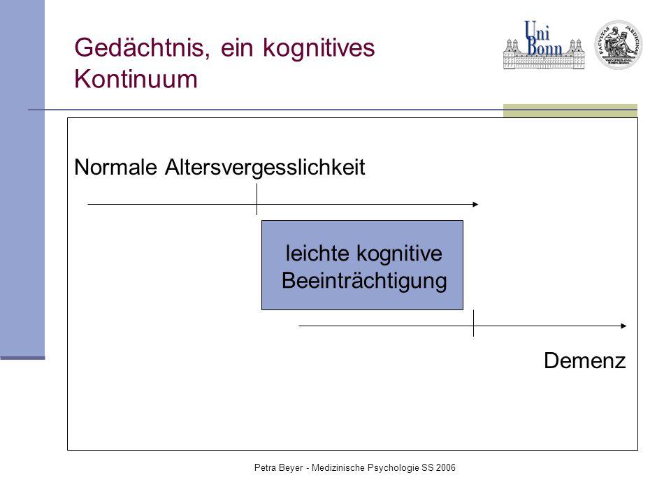 Petra Beyer - Medizinische Psychologie SS 2006 Gedächtnis, ein kognitives Kontinuum Normale Altersvergesslichkeit Demenz leichte kognitive Beeinträcht