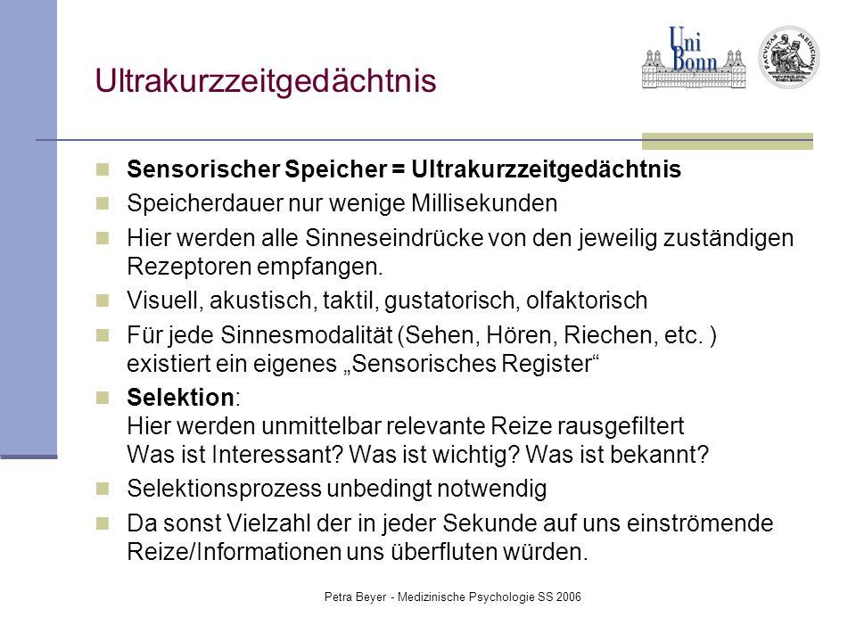 Petra Beyer - Medizinische Psychologie SS 2006 Ultrakurzzeitgedächtnis Sensorischer Speicher = Ultrakurzzeitgedächtnis Speicherdauer nur wenige Millis