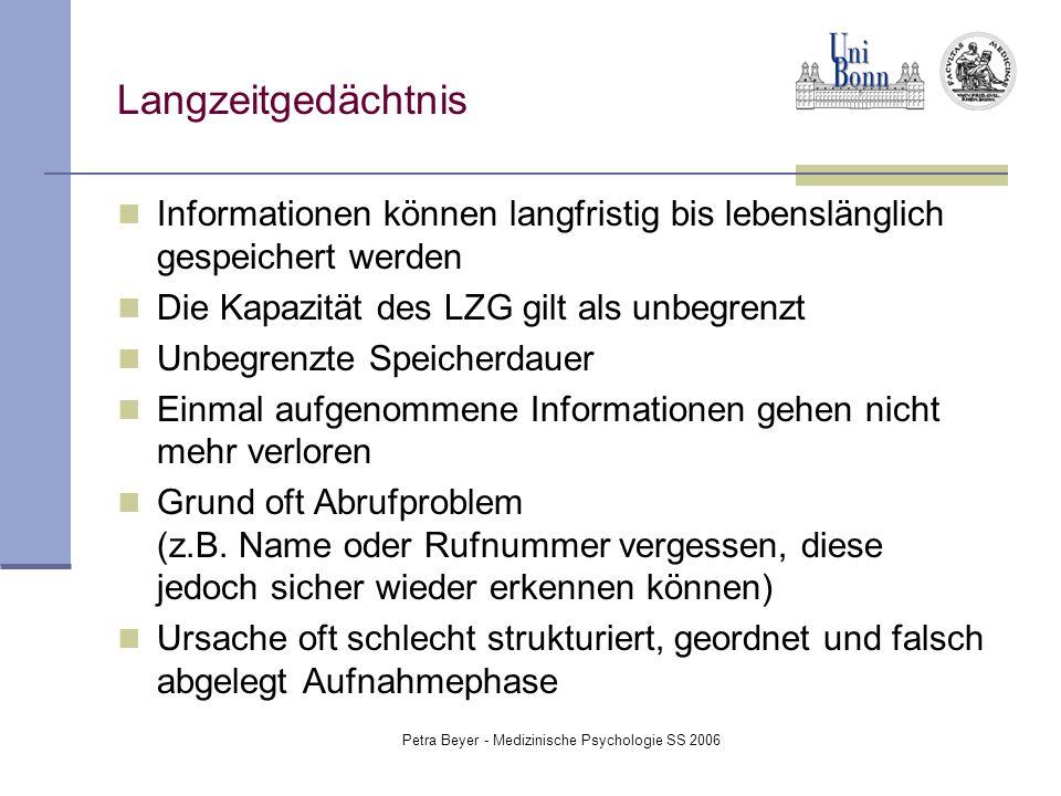 Petra Beyer - Medizinische Psychologie SS 2006 Langzeitgedächtnis Informationen können langfristig bis lebenslänglich gespeichert werden Die Kapazität
