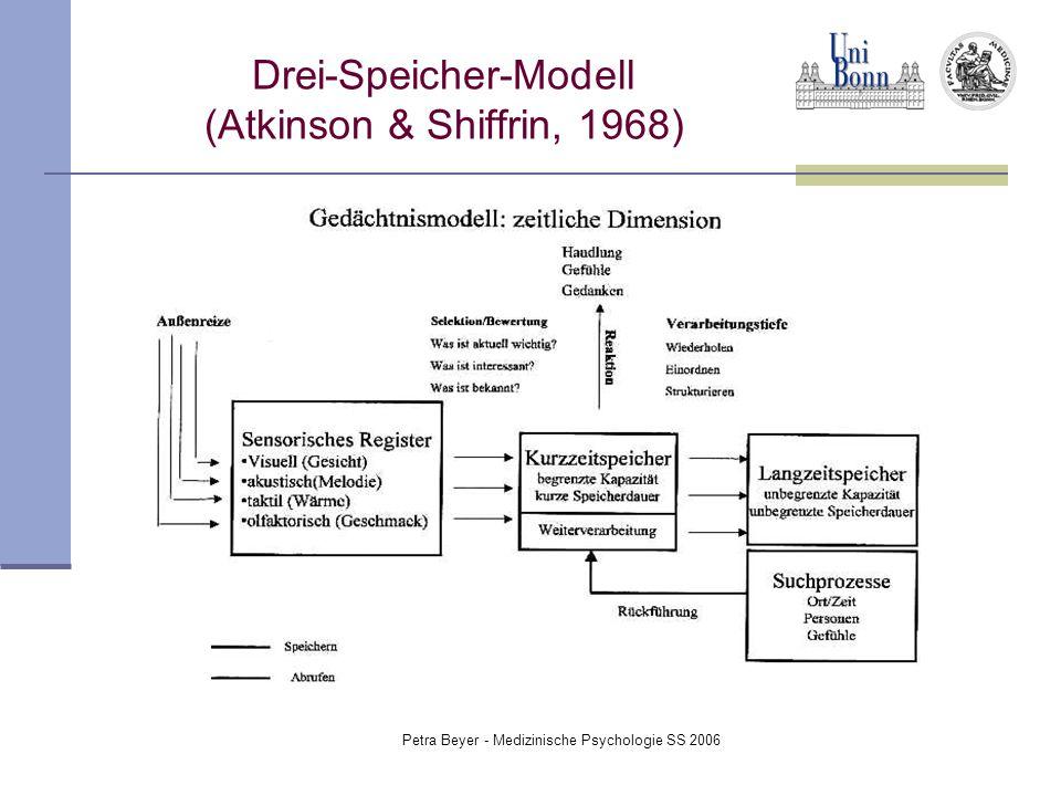 Petra Beyer - Medizinische Psychologie SS 2006 Drei-Speicher-Modell (Atkinson & Shiffrin, 1968)