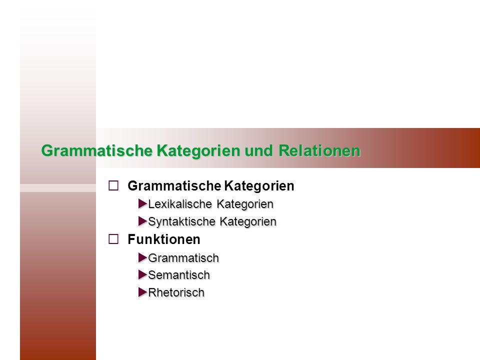 Grammatische Kategorien und Relationen   Grammatische Kategorien  Lexikalische Kategorien  Syntaktische Kategorien   Funktionen  Grammatisch  Semantisch  Rhetorisch