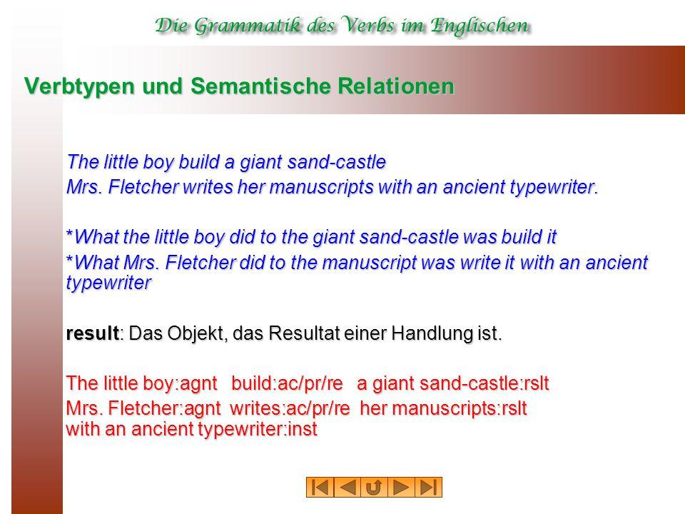 Verbtypen und Semantische Relationen The little boy build a giant sand-castle Mrs.