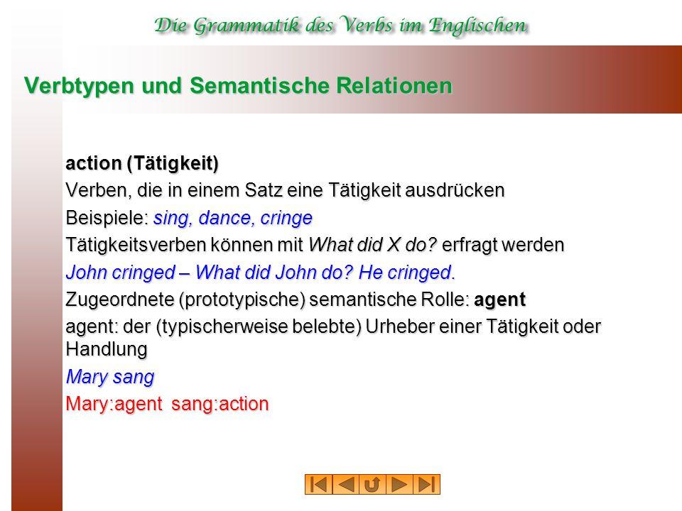 Verbtypen und Semantische Relationen action (Tätigkeit) Verben, die in einem Satz eine Tätigkeit ausdrücken Beispiele: sing, dance, cringe Tätigkeitsverben können mit What did X do.