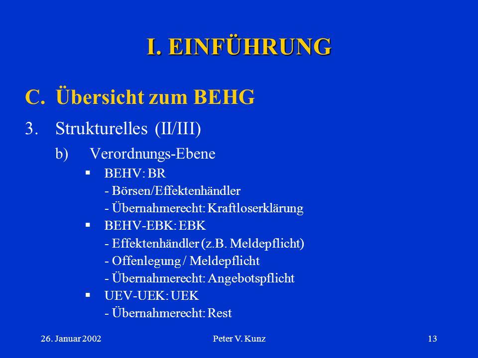 26. Januar 2002Peter V. Kunz12 I. EINFÜHRUNG C.Übersicht zum BEHG 3.Strukturelles (I/III) a) Gesetzes-Ebene  BEHG als sog. Rahmengesetz  Fazit: