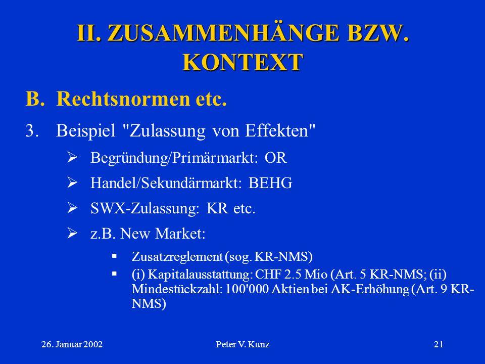26. Januar 2002Peter V. Kunz20 II. ZUSAMMENHÄNGE BZW. KONTEXT B.Rechtsnormen etc. 2.Regelwerk der SWX  private Basis  Erlass  Hybrid-Charakter (v.a
