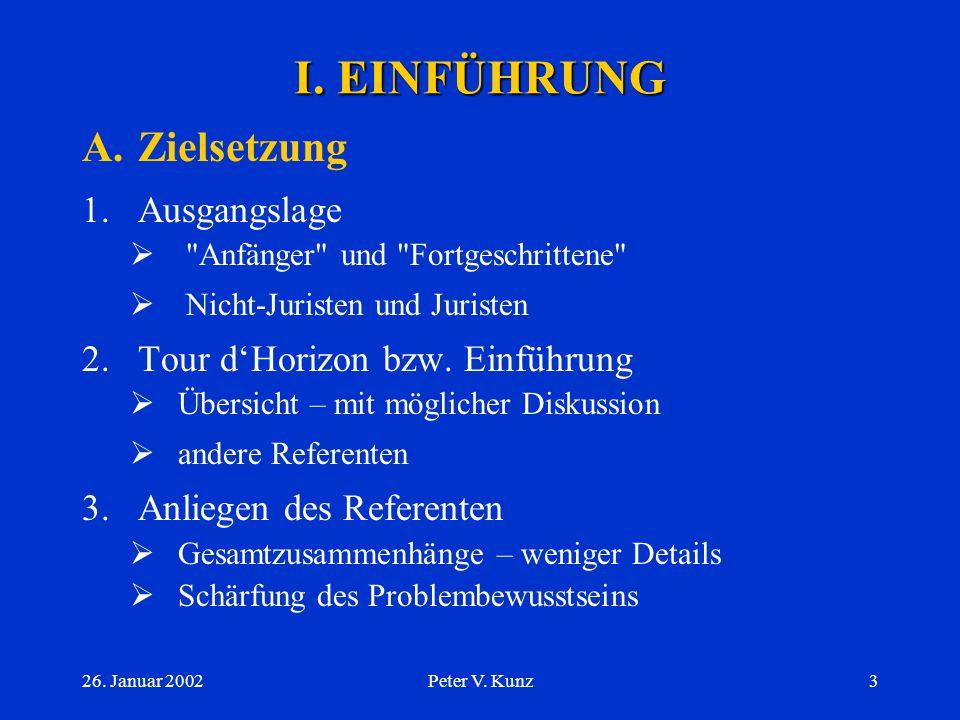 26. Januar 2002Peter V. Kunz2 INHALT I.EINFÜHRUNG A.Zielsetzung B.Geschichtliches C.Übersicht zum BEHG II.ZUSAMMENHÄNGE BZW. KONTEXT A.Behörden etc. B