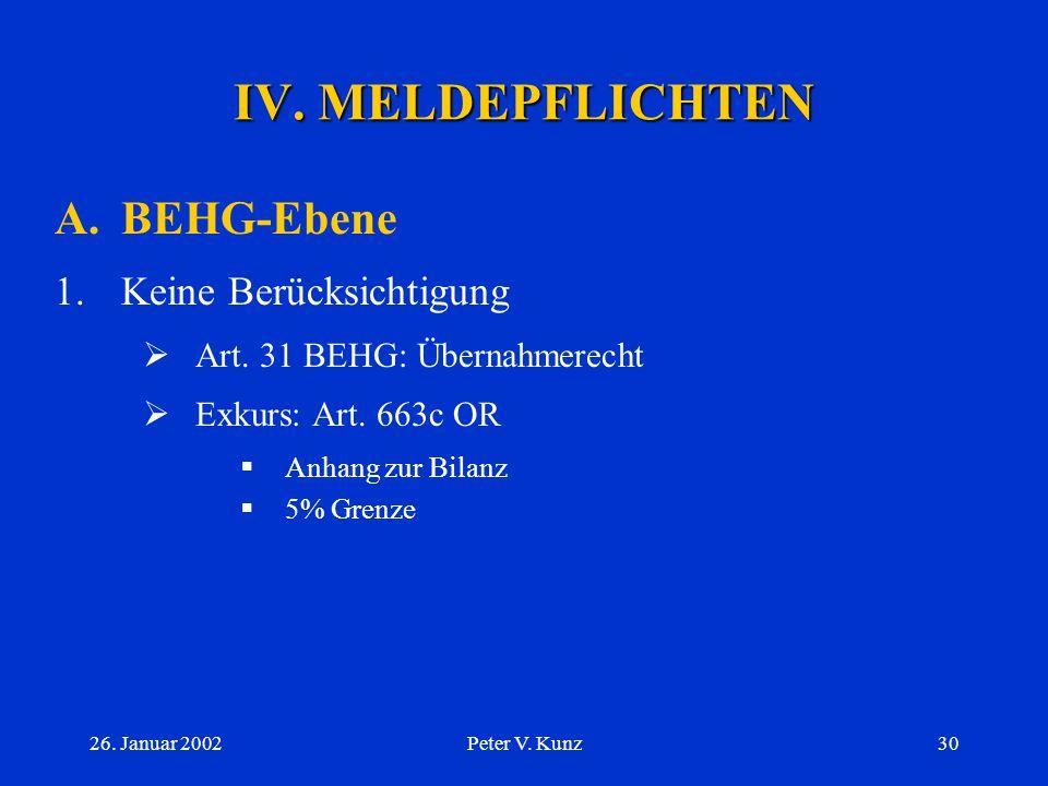26. Januar 2002Peter V. Kunz29 III. AUSGEWÄHLTE BEHG- THEMEN C.Übernahmerecht 4.Zielgesellschaft  Neutralitätspflicht?  Bericht des VR  Beschränkun