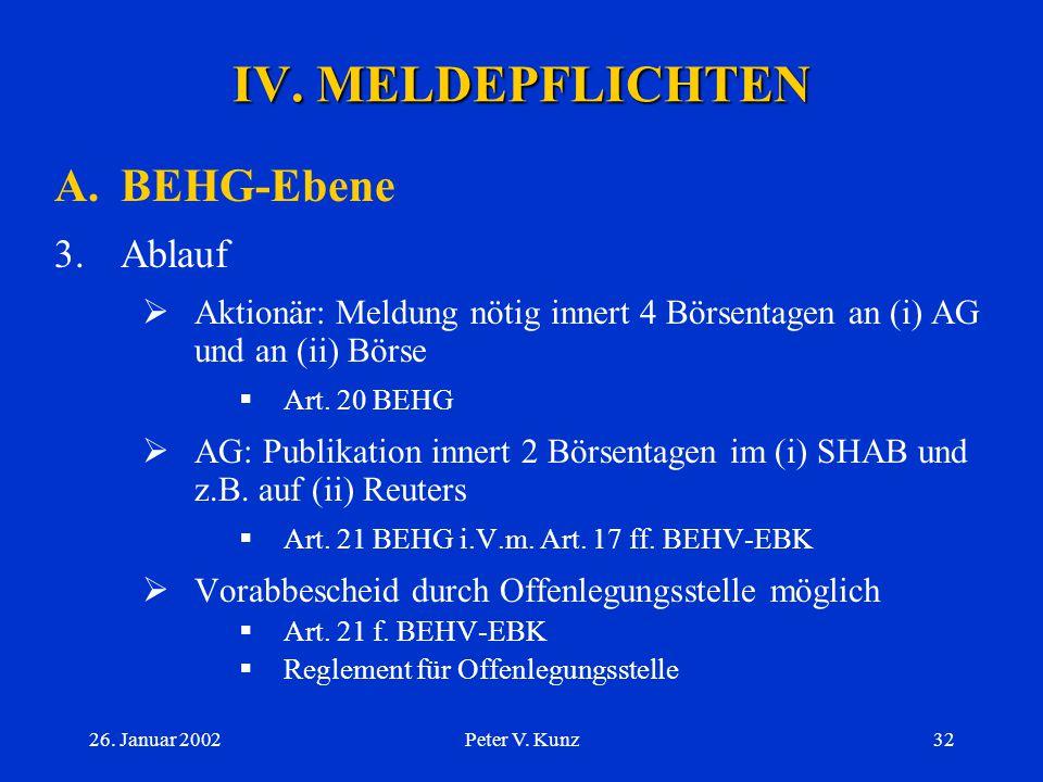 26. Januar 2002Peter V. Kunz31 IV. MELDEPFLICHTEN A.BEHG-Ebene 2.Meldepflicht gemäss Art. 20 BEHG  Aktionär, nicht AG  ABER: AG bei sog. eigenen Akt