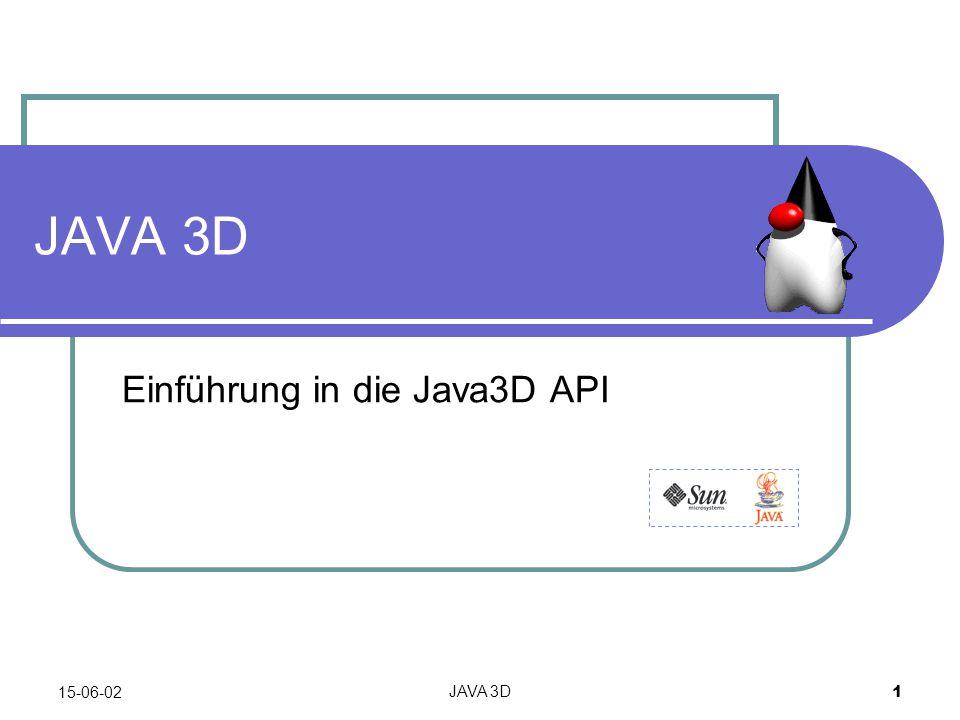 15-06-02JAVA 3D12 Referenzen SUNs Java3D Seite: http://java.sun.com/products/java-media/3D/ http://java.sun.com/products/java-media/3D/ Gutes Java3D Tutorial von SUN: http://java.sun.com/products/java-media/3D/collateral/ http://java.sun.com/products/java-media/3D/collateral/ J3D Cummunity Site: http://www.j3d.org/ http://www.j3d.org/ Game Of Life 2D/3D http://www.uhon.ch/gol http://www.uhon.ch/gol
