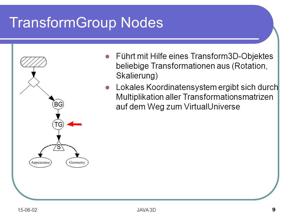 15-06-02JAVA 3D9 TransformGroup Nodes Führt mit Hilfe eines Transform3D-Objektes beliebige Transformationen aus (Rotation, Skalierung) Lokales Koordinatensystem ergibt sich durch Multiplikation aller Transformationsmatrizen auf dem Weg zum VirtualUniverse