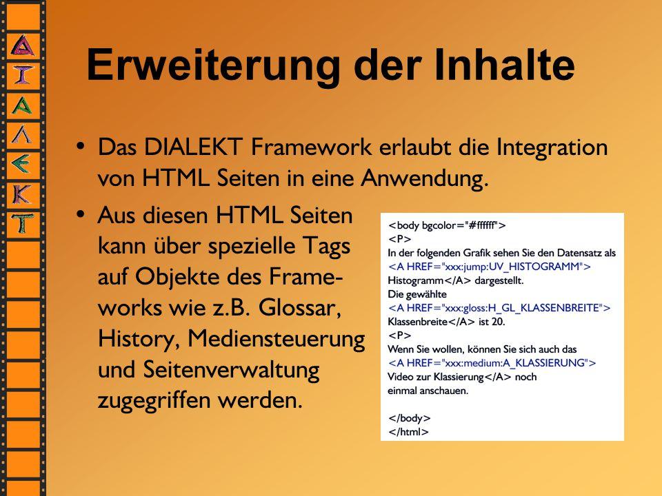 Erweiterung der Inhalte Das DIALEKT Framework erlaubt die Integration von HTML Seiten in eine Anwendung. Aus diesen HTML Seiten kann über spezielle Ta