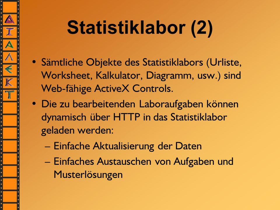 Statistiklabor (2) Sämtliche Objekte des Statistiklabors (Urliste, Worksheet, Kalkulator, Diagramm, usw.) sind Web-fähige ActiveX Controls. Die zu bea