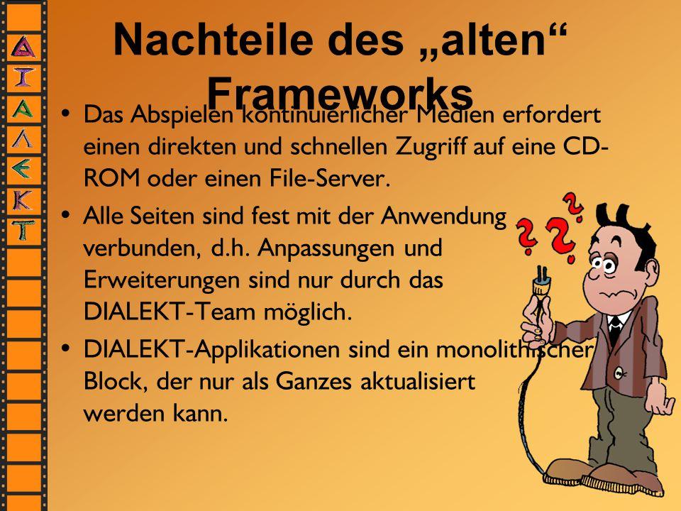 """Nachteile des """"alten Frameworks Das Abspielen kontinuierlicher Medien erfordert einen direkten und schnellen Zugriff auf eine CD- ROM oder einen File-Server."""