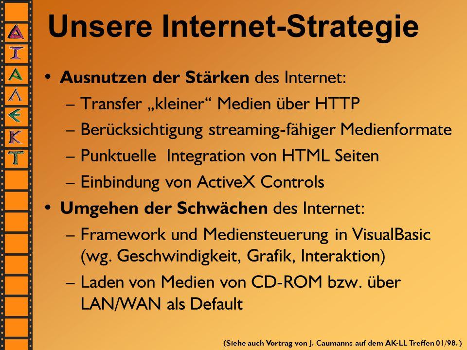 """Unsere Internet-Strategie Ausnutzen der Stärken des Internet: –Transfer """"kleiner"""" Medien über HTTP –Berücksichtigung streaming-fähiger Medienformate –"""