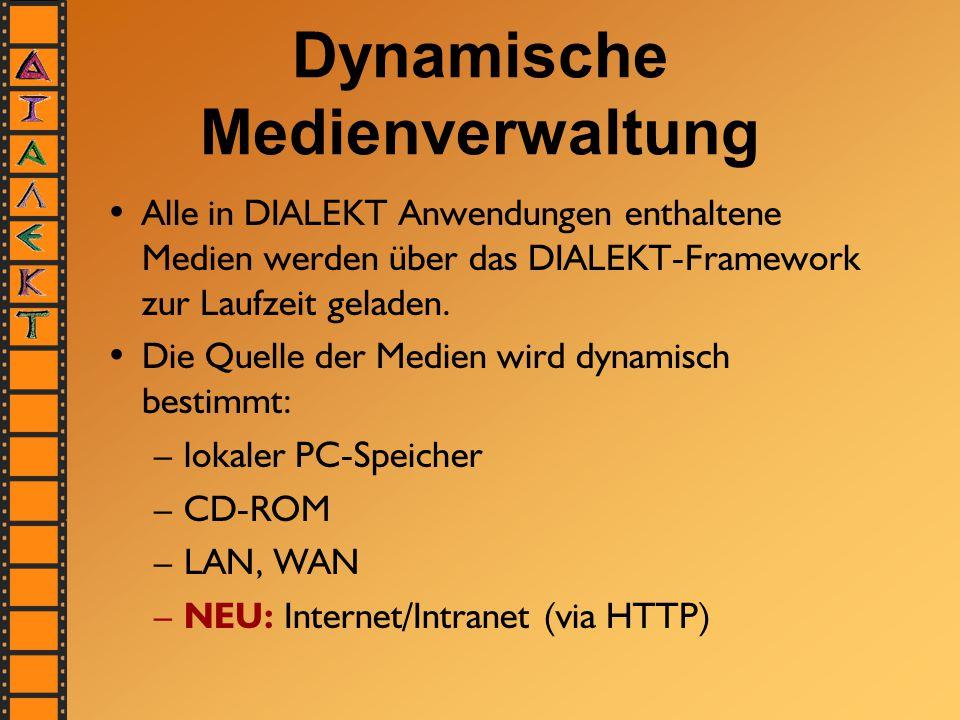 Dynamische Medienverwaltung Alle in DIALEKT Anwendungen enthaltene Medien werden über das DIALEKT-Framework zur Laufzeit geladen. Die Quelle der Medie