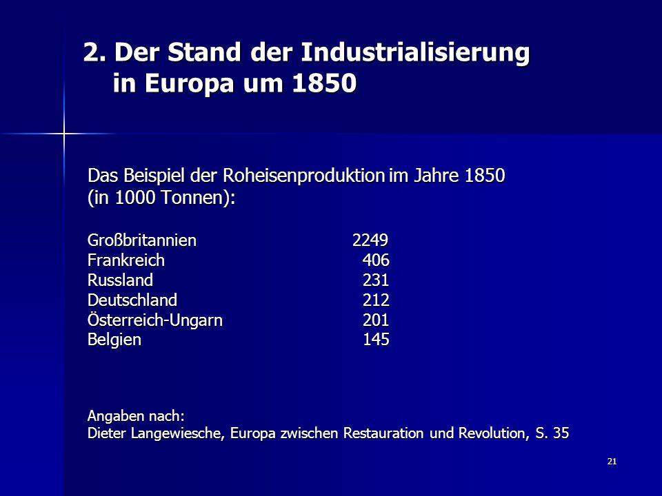 21 2. Der Stand der Industrialisierung in Europa um 1850 Das Beispiel der Roheisenproduktion im Jahre 1850 (in 1000 Tonnen): Großbritannien 2249 Frank